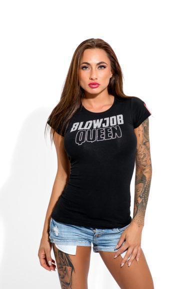 SNEAKPEEK dámské tričko BLOWJOB QUEEN glitter